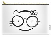 Original Sumi-e Painting Of Kawaii Cute Nerd Hello Kitty In Oversized Spectacles Carry-all Pouch
