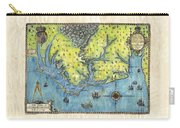 Outer Banks Historic Antique Map Hand Painted Carry-all Pouch