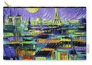 Paris Purple Night - Textural Impressionist Stylized Cityscape Mona Edulesco Carry-all Pouch