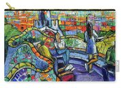 Park Guell Enchanted Visitors - Impasto Palette Knife Stylized Cityscape Carry-all Pouch