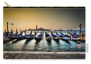 Parked Gondolas, Early Morning In Venice, Italy.  Carry-all Pouch