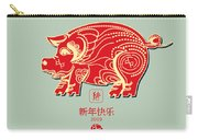 Pig 2019 Happy Chinese New Year Of The Pig Characters Mean Vector De Carry-all Pouch