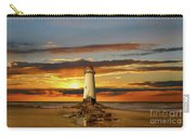 Point Of Ayr Lighthouse Sunset Carry-all Pouch by Adrian Evans