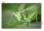 Portrait Of A Great Green Bush-cricket Sitting On A Leaf Carry-all Pouch