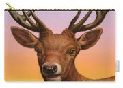 Portrait Of A Red Deer Carry-all Pouch by James W Johnson