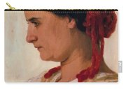 Portrait Of Angela B Cklin In Red Fishnet Carry-all Pouch