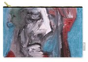 Portrait On Blue Carry-all Pouch