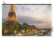 Portrait View Of The Eiffel Tower At Night With Wine Glass In The Foreground Carry-all Pouch