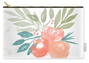 Pretty Coral Roses 2- Art By Linda Woods Carry-all Pouch