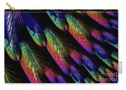 Rainbow Colored Peacock Tail Feathers Fractal Abstract Carry-all Pouch by Rose Santuci-Sofranko