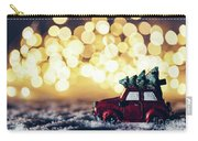 Red Car With Christmas Tree Driving Through Snow Carry-all Pouch