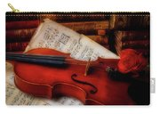 Red Rose And Violin With Sheet Music Carry-all Pouch