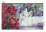 Red Roses And White Cat Carry-all Pouch by Ryn Shell