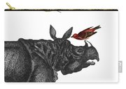 Rhinoceros With Birds Art Print Carry-all Pouch