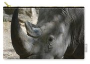 Rhinoceros With Two Horns Up Close And Personal Carry-all Pouch