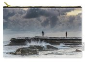 Rock Ledge, Spear Fishermen And Cloudy Seascape Carry-all Pouch