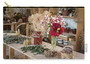 Rustic Wooden Table With Various Herbs And Flowers Carry-all Pouch