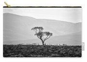 Scottish Highland Tree In Black And White Carry-all Pouch