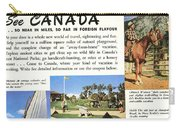See Canada, So Near In Miles, So Far In Foreign Flavour 1949 Ad By Canadian Government Travel Bureau Carry-all Pouch
