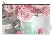 Shabby Chic Pink Roses In Aqua Mason Jar Romantic Cottage Floral Print Home Decor Carry-all Pouch