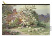 Sheep Outside A Cottage In Springtime Carry-all Pouch