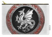 Silver Winged Norse Dragon - Icelandic Viking Landvaettir On Black And Silver Medallion Over White L Carry-all Pouch
