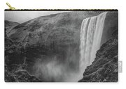 Skogafoss Iceland Black And White Carry-all Pouch by Nathan Bush