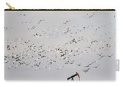 Snow Geese Over Oil Pump 01 Carry-all Pouch by Rob Graham