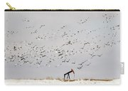 Snow Geese Over Oil Pump 02 Carry-all Pouch by Rob Graham