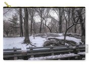 Snowy Benches Carry-all Pouch by Alison Frank