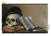 Still Life With Skull, Books, Flute And Pipe Carry-all Pouch