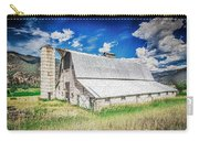 Summer Sunset With A Red Barn In Rural Montana And Rocky Mountains Carry-all Pouch by Alex Grichenko