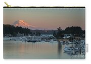 Sunset At Gig Harbor Marina With Mount Rainier In The Background Carry-all Pouch