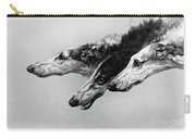 The Borzois, Black And White Sketch, 3 Russian Wolfhounds Carry-all Pouch