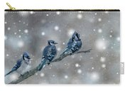 Three Blue Jays In The Snow Carry-all Pouch