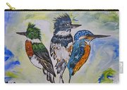 Three Kingfisher Birds - Painting By Ella Carry-all Pouch