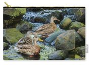 Three Mallard Ducks Swimming In A Stone Filled Brook. Carry-all Pouch