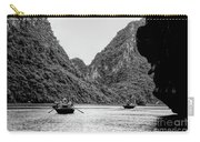Touring Ha Long Bay Row Boats People Bw Carry-all Pouch