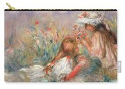 Two Children Seated Among Flowers, 1900 Carry-all Pouch