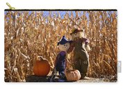 Two Cute Scarecrows With Pumpkins In The Dry Corn Field Carry-all Pouch
