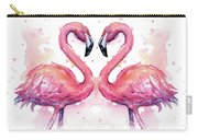 Two Flamingos In Love Watercolor Carry-all Pouch