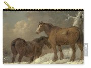Two Horses In The Snow Carry-all Pouch
