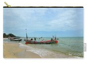 Two Thai Fishermen Take Equipment Onto Boat At Seaside Pattani Thailand Carry-all Pouch