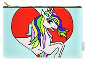 Unicorn In The Heart On Baby Blue Kids Room Decor Carry-all Pouch