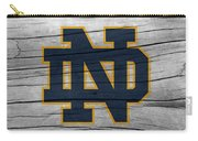 University Of Notre Dame Fighting Irish Logo On Rustic Wood Carry-all Pouch