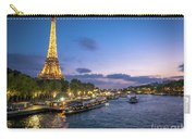 View Of The Eiffel Tower During Sunset From The Scene River Carry-all Pouch