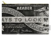 Vintage Associated Master Barber Sign Black And White Carry-all Pouch