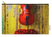 Violin And Heart Wreath Carry-all Pouch