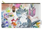 Watercolor - Kitten On My Painting Table Carry-all Pouch