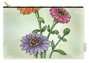 Watercolor Orange Pink Purple Zinnia Flowers Carry-all Pouch